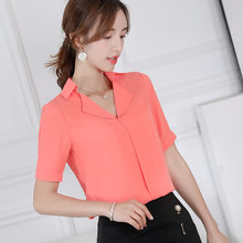 Korean Womens Blusas Chiffon Blouse Office Casual Turn Down Collar Slim Short Sleeve Shirts Women 2019 Streetwear Blue Red Top(China)