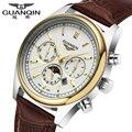 Новый Origianl GUANQIN Лучший Бренд Класса Люкс Кварцевые часы Мода Световой мужчины Повседневная Часы Водонепроницаемые мужчины Платье Часы часы