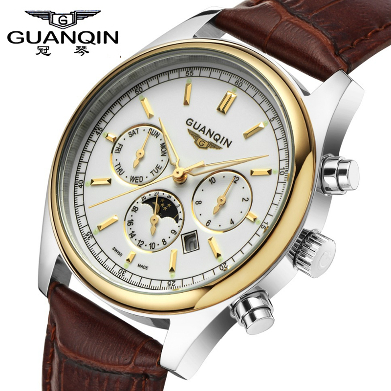 ФОТО Brand NEW Origianl GUANQIN Top Brand Luxury Quartz watch Fashion Luminous men Casual Watches Waterproof male Dress Watch clock