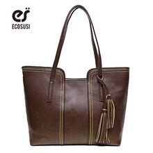 ECOSUSI Women PU Leather Handbags Famous Designers Women Messenger Bags With Tassel Large Capacity Women Bags Shoulder Tote Bag