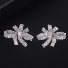 SisCathy Trendy Silver Color Knot Irregular Full CZ Stud Earrings For Women Bridal Engagement Jewelry