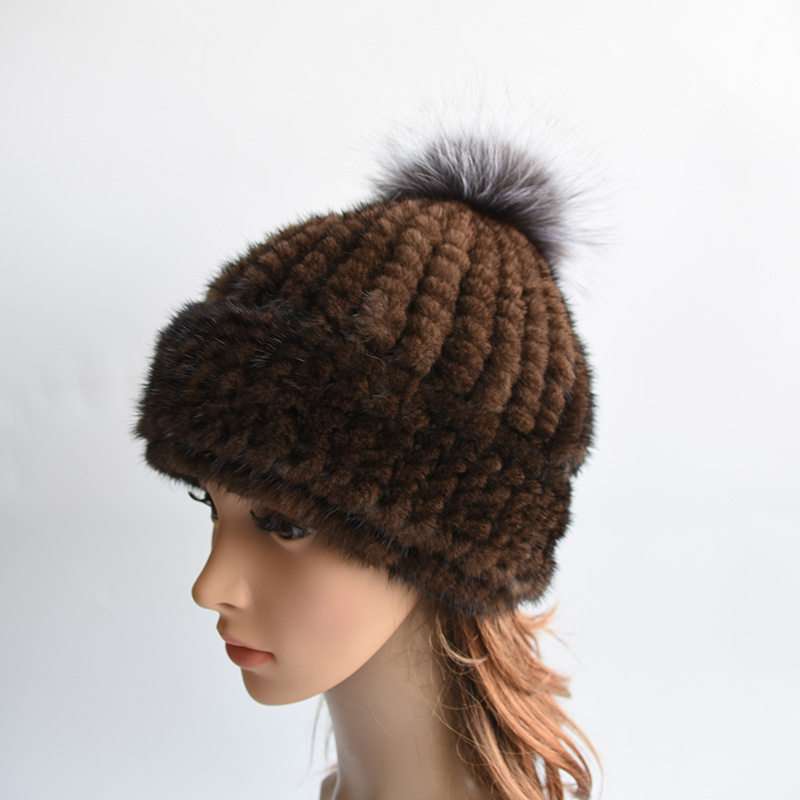 Women's Winter Hats Knitted Beanie With Fox Fur Ball Women Customized Headgear Hat For Women Casual Female Mink Fur Hats