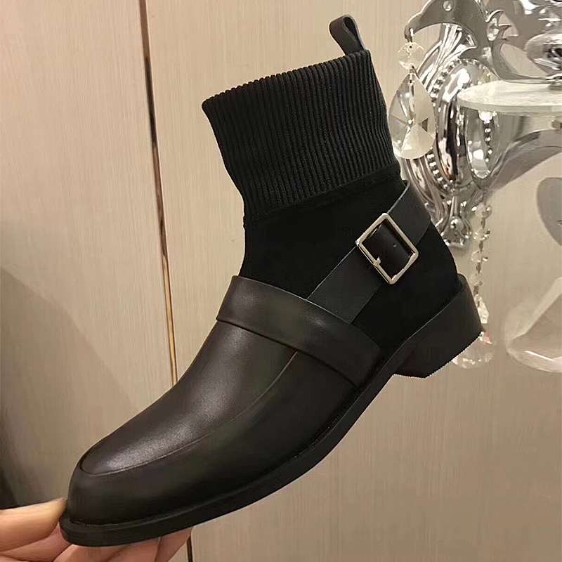 2018 Booties Female Real Leather Autumn/Winter New Knitted Wool Elastic Boot Fashion Woman Socks Belt Buckle Botas fashion elastic woven pin buckle belt