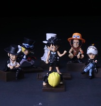 New Japan anime one piece 7pcs/set Q Luffy Ace Sanji Trafalgar Law Mihawk pvc action figure model toy juguetes brinquedos hot