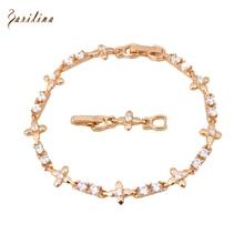 Wholesale & Retail CZ White crystal yellow Gold Bracelets & bangles fashion jewelry 20cm 7.87 inch B278