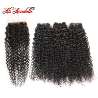 ALI ANNABELLE HAIR Brazilian Kinky Curly Human Hair Bundles With Closure Brazilian Remy Hair 4 Pieces
