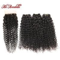 ALI ANNABELLE HAIR Brazilian Kinky Curly Human Hair Bundles With Closure Brazilian Remy Hair 4 Pieces