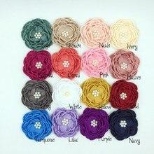 10pcs/lot 3 16Colors DIY Handmade Satin Flower Matching Pearls Layered Baby Girl Hair Accessory Kidocheese