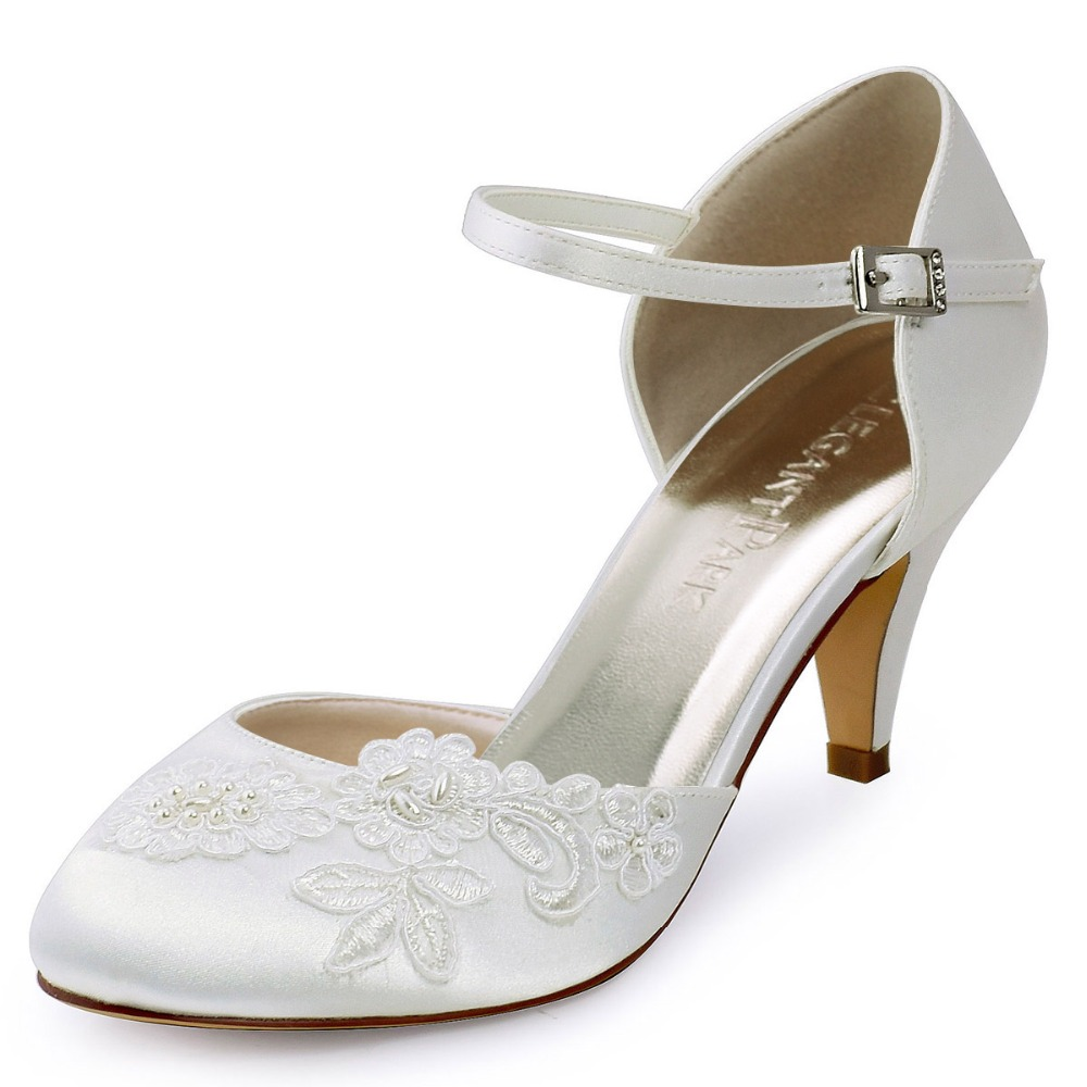 HC1604 Shoes Woman  Ivory Bride Pumps Closed Toe Comfortable High Heel Appliques Pearls Satin Wedding Bridal Shoes free shipping ep2107 ivory women s open toe stiletto high heel satin flowers pearls bridal wedding sandals