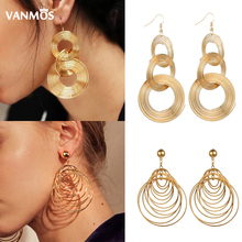 Vanmos Women Statement Exaggeration Multi Layer Drop Earrings Big Circle Dangle Fashion Punk Party Jewelry