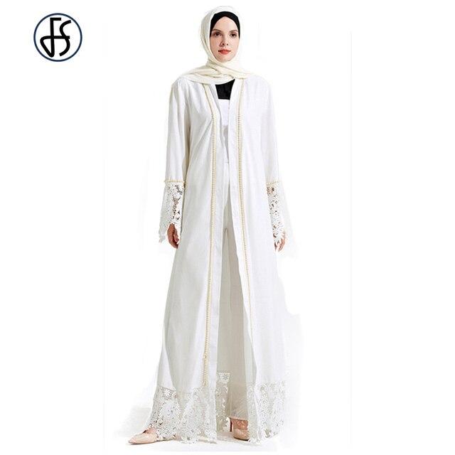 28c1ac5d75 FS Mulheres Lace Branco Longue Robe Musulmane Turco Árabe Kaftan Abaya  Muçulmano Com Pérola Rebite Culto