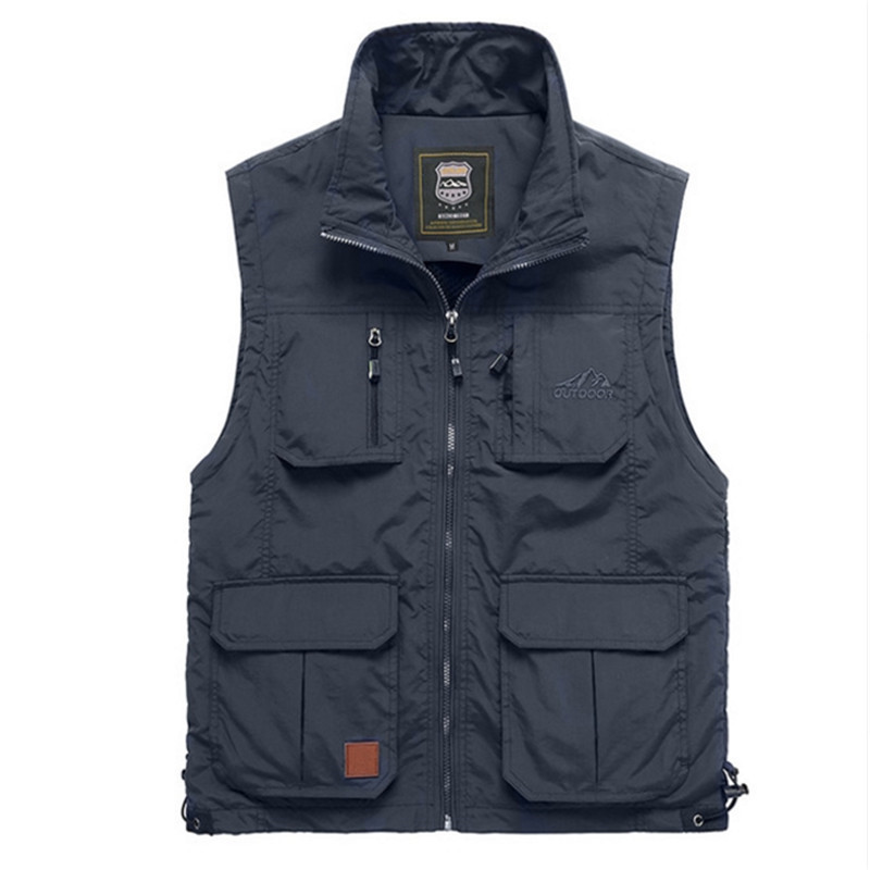 Big Size Male Casual 6 Colors Sleeveless Jacket With Many Pockets Reporter Waistcoat Summer Mesh Thin Multi Pocket Casual Vest
