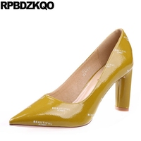 Patent Leather Ladies Modern Green High Heels Shoes Fashion Female Chic Chunky Pointed Toe Sexy Size