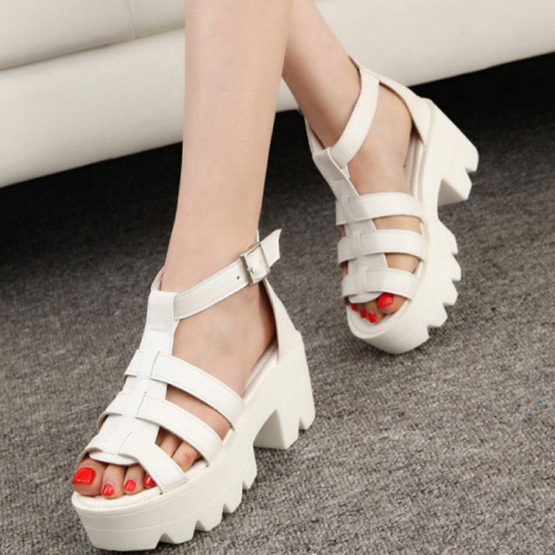 dc58bcbe6fa New Summer Lady Strappy Platform Block Heel Chunky Pure Buckle Leather Peep  Toe Ankle High Sandals Women Gladiator Shoes SJL88-in Women s Sandals from  Shoes ...