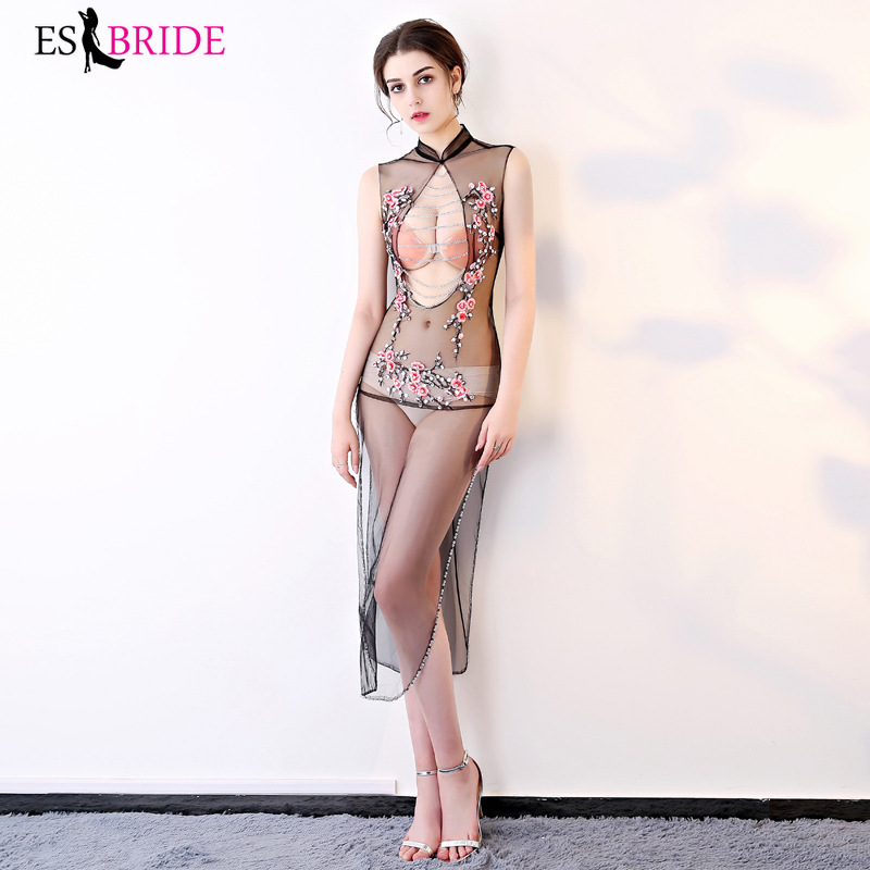 Long   Evening     Dresses   2019 New Fashion Sexy Tulle Backless Wedding Party Gowns Special Occasion Robe De Soiree Longue ES1235