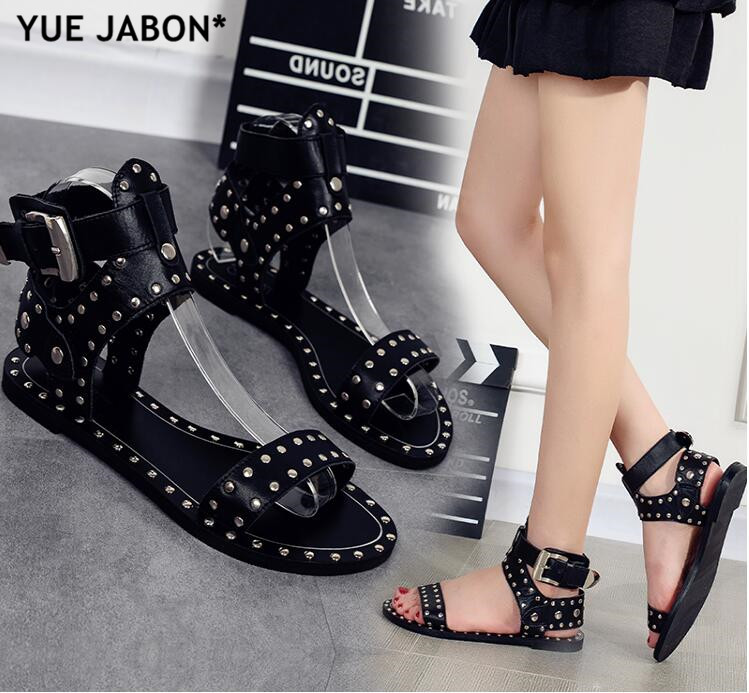 Cheap Black Flats Casual Street Style Buckle Strap Gladiator Sandals Stud Rivets Open Toe Women Rome Gladiator Sandals Size 43
