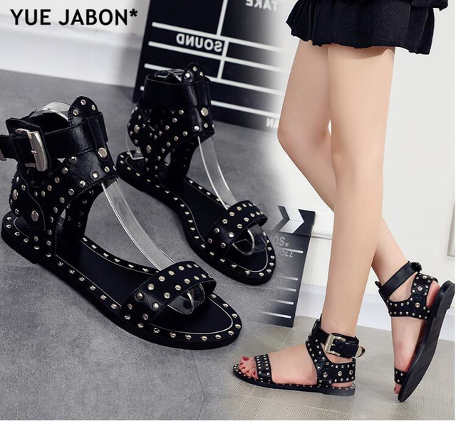 3876c73503da Cheap Black Flats Casual Street Style Buckle Strap Gladiator Sandals Stud  Rivets Open Toe Women Rome Gladiator Sandals size 43