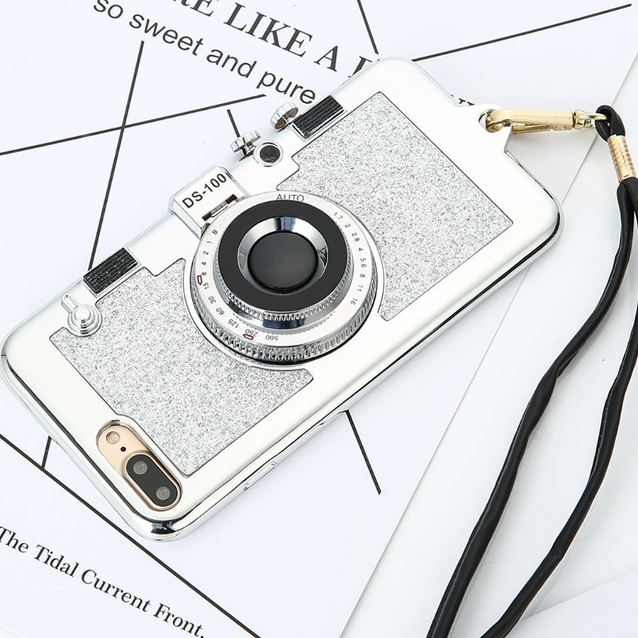 Korean 3D Retro Camera Phone Cases For iphone 7 6 6S Plus Case Luxury Electroplating Soft Cover Stand Holder Mirror With Lanyard