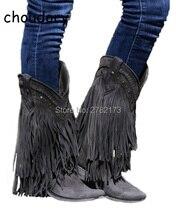 Ковбойские мотоботы до середины икры Гладиатор осень-зима бахромой Низкий каблук Сапоги и ботинки для девочек Slip-On кисточкой замши женская повседневная обувь