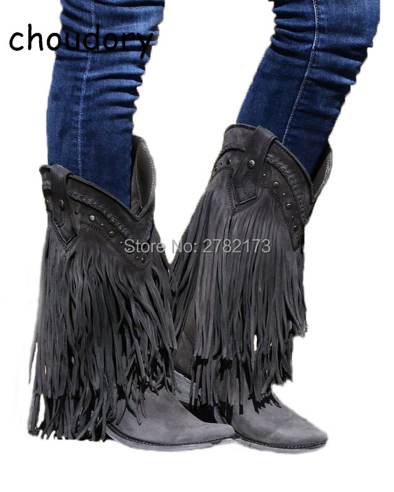 Cowboy Mid-calf Motorcycle Boots Gladiator Autumn Winter Fringed Low Heels Boots Slip-on Tassel Suede Leather Woman Casual Shoes hot selling chic stylish black grey suede leather patchwork boots mid calf spike heels middle fringe boots side tassel boots