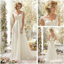 Charming Chiffon Lace Wedding Dresses A Line V Neck Applique Beads Ruffle Cowl Open Back Bridal Gowns yk1A592