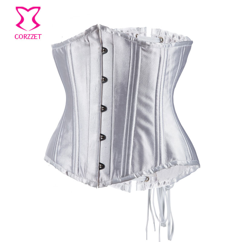 7a186087b61 Corpetes E Espartilhos Sexy Wedding Bridal White Bustier Corset Underbust  24 Steel Bone Waist Trainer Plus Size Lingerie 5XL 6XL-in Bustiers   Corsets  from ...