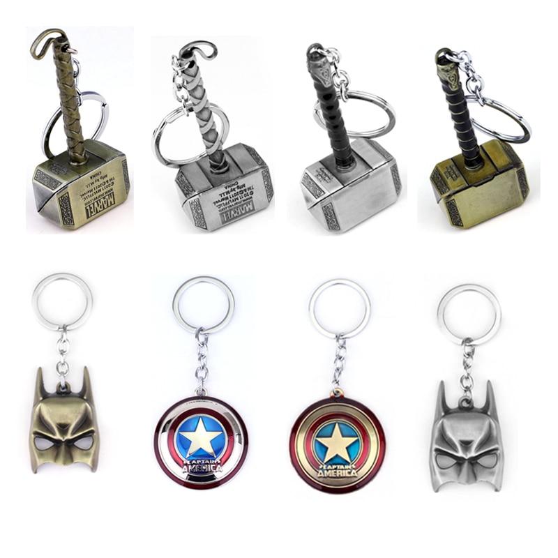 Marvel Avengers Thor's Hammer Mjolnir Keychain Captain America Shield Hulk Batman Mask KeyChain Keyrings Drop Shipping Wholesale цена