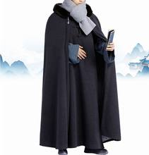 Winter warm lay meditation cloak zen monks uniforms shaolin monk robe cape Buddhist kung fu clothing blue/grey/red(China)