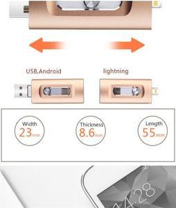 Image 2 - Nieuwe iOS USB Flash Drive 3 in 1 OTG USB Flash Drive 32 GB/64 GB/128 GB /256 GB Pendrive Metalen Pen Drive 64 GB voor iPhone X/8/7/6 Plus