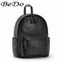 BeDo Women Real Leather Casual Backpacks Cow Leather Simple Zipper Backpacks Black Gray Yellow Red Women Bags