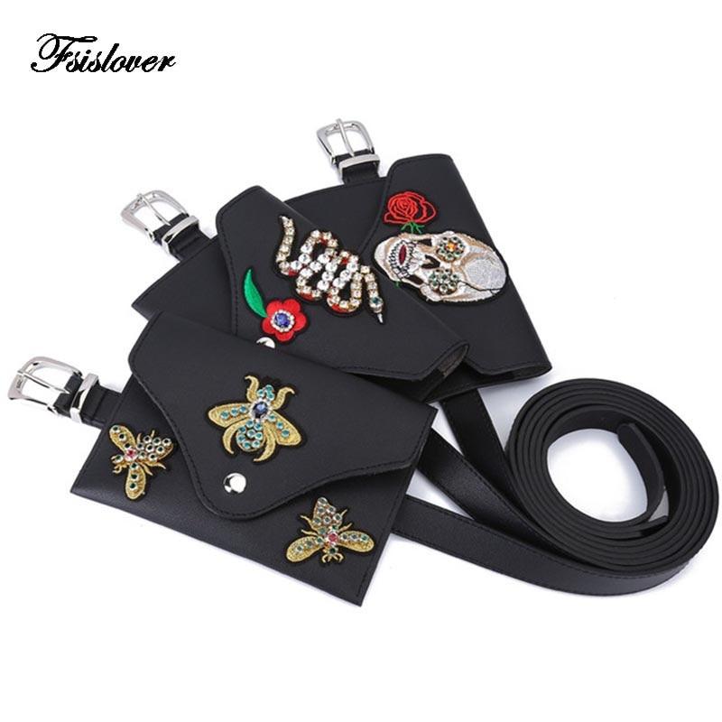 Dropshipping Punk Style waist bag Vintage Embroidery women Waist fanny Packs belt bag with Diamond PU leather chest handbag