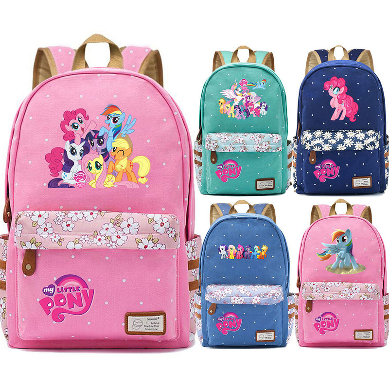 Hot Friendship Is Magic Pony Dash Pinkie Pie Flowers Dot Boy Girl School Bag Women Bagpack Teenagers Canvas Lady Femme Backpack image
