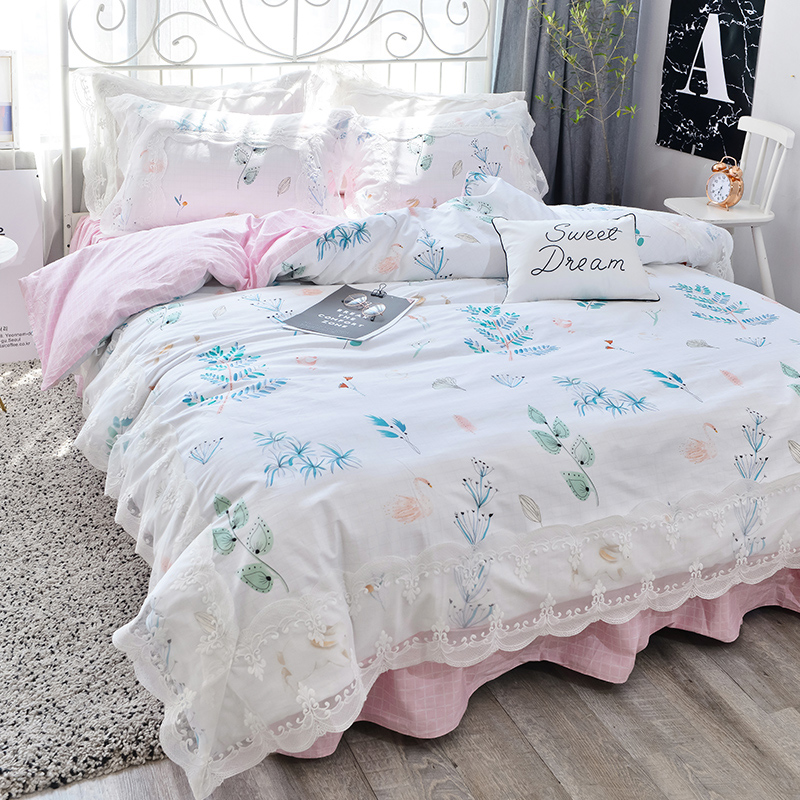 New Korean pastoral bedding set floral ruffle lace duvet cover elegant bedspread bed linen bed sheet