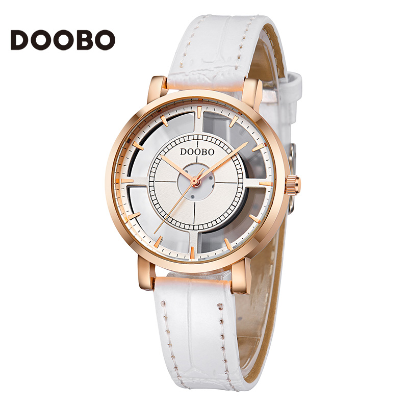 все цены на Watch Women DOOBO brand luxury Fashion Casual quartz Unique Stylish Hollow skeleton watches leather sport Lady wristwatches 2017 онлайн