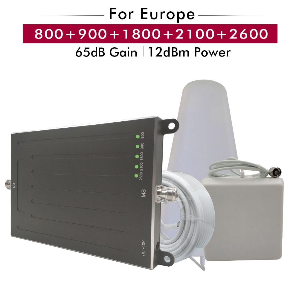 Amplificateur cinq bandes 800 + 900 + 1800 + 2100 + 2600 MHz 2G GSM 3G WCDMA 4G LTE amplificateur répéteur de Signal de téléphone portable ensemble pour l'europe