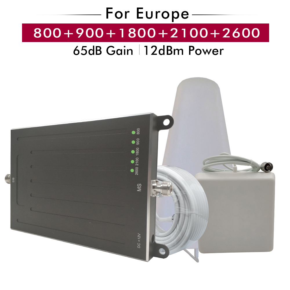 Five Band Booster 800 900 1800 2100 2600 MHz 2G GSM 3G WCDMA 4G LTE Cell Phone Signal Booster Repeater Amplifier Set for Europe in Signal Boosters from Cellphones Telecommunications