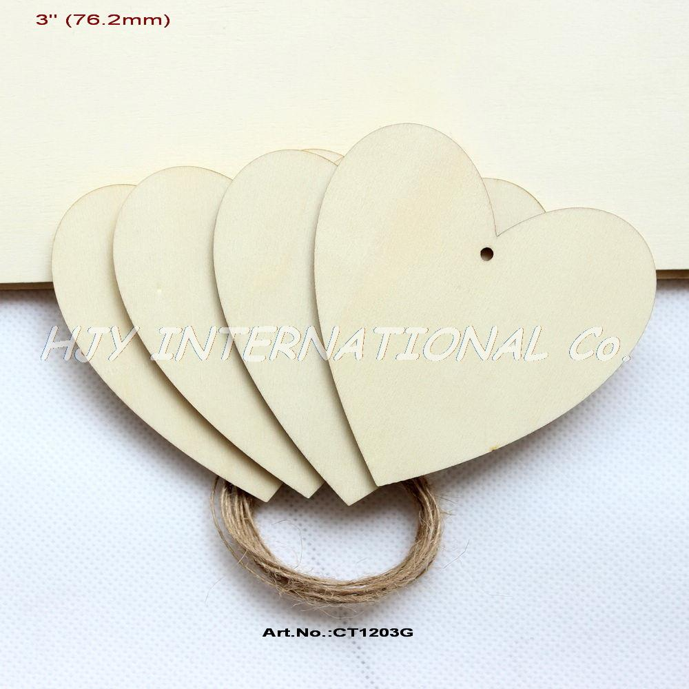 ⃝(20 unids/lote) 76mm en blanco sin terminar madera corazones ...