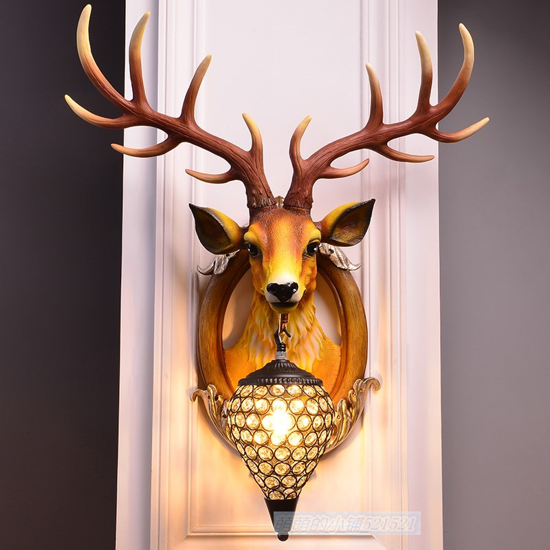 все цены на European Deer Head Wall Light Villa Living Room Bedroom Corridor Resin Wall Lamp American Bar KTV Restaurant Creative Wall light
