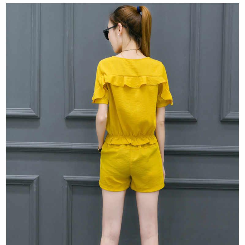 新 2019 女性のファッションセット服 2 点セット + ショートパンツスポーツスーツ女性のトラックスーツストライプ Tシャツクロップトップス夏