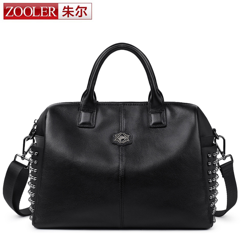 ZOOLER 2017 New Arrival Women Bags Handbags Genuine Leather & Nylon Shoulder Bag Casual Crossbody Cowhide Bag Rivet Casual Totes zooler 2017 new arrival genuine leather handbags woman design top quality crossbody bag luxury brand red ladies bags hs 3211