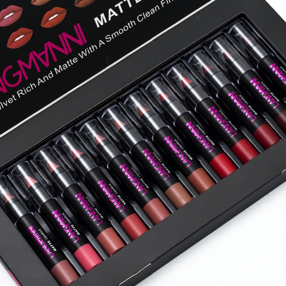 12pcs set Hot Sexy Red Lips Matte Velvet Lipstick Pencil Cosmetic Long Lasting Lip Tint Pigment Makeup Nude Brown Lipstick Matte in Lipstick from Beauty Health