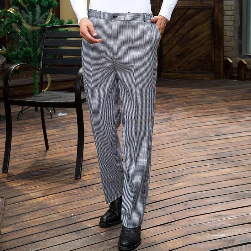 Отель мужчин рабочие брюки шеф-повар брюки джинсы магазин шеф-повар полосы рабочая одежда шеф-повара одежда летнее клетчатое Штаны
