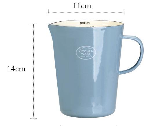 Эмалированный мерный стакан со шкалой молока может кофе чашка воды - Цвет: B2