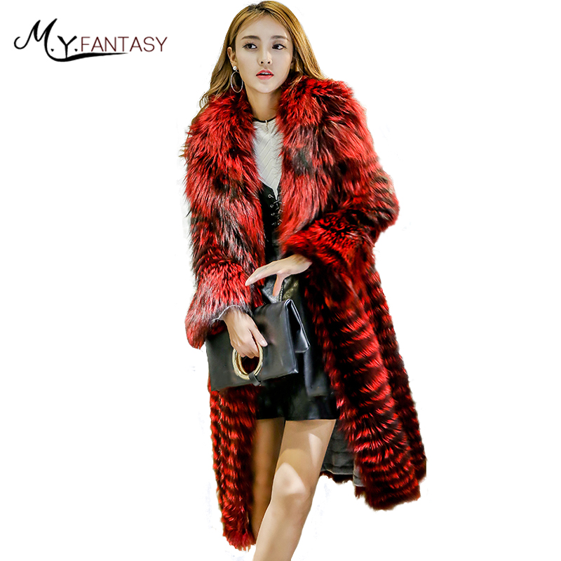 M.Y.FANSTY 2017 With Fox Collar Pocket Covered Full Sleeve Fox Coat Winter Pocket Genuine Fur Women's Real Fox Fur Coats(China)