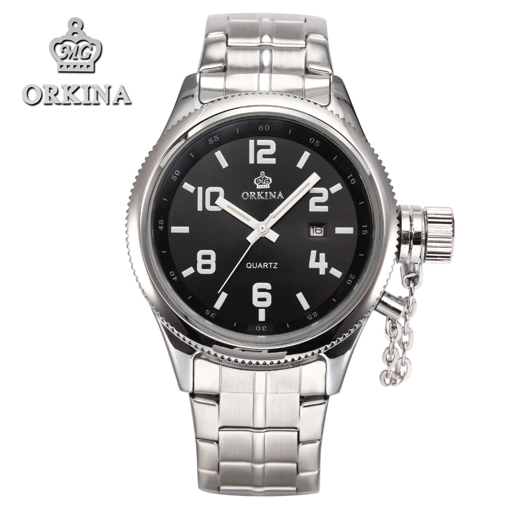2017 mg orkina fashion men s crystal quartz stopwatches stainless steel wristwatch gift with box free ship 2 Colors Orkina Brands Elegant Silver Stainless Steel Mens's Date Quartz Wrist Watch 2016 Male Fashion Clock with Gift Box