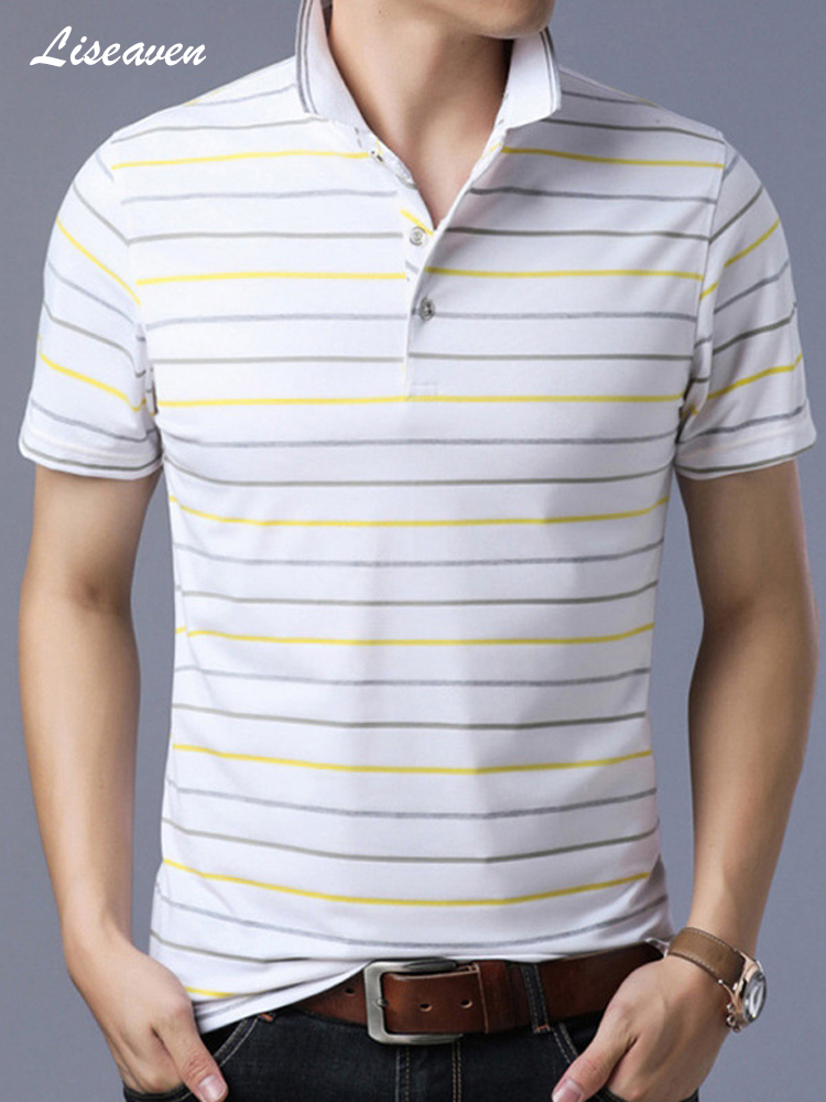 Liseaven Men Clothes 2019 New Arrival   Polo   men Striped Short   Polo   Shirts Men's Causal   Polos   Dress