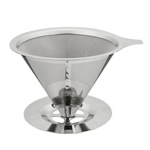 Stainless Steel Cone Reusable Coffee Filter Baskets Mesh Strainer Pour Over Dripper With Stand Holder