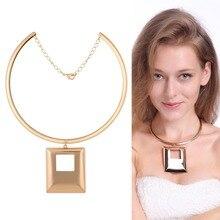 Fashion Choker Necklace Square Pendant Collar Blouse Designs Back Quinceanera Dress Alloy Jewelry Zinc Alloy Punk Styles 1058