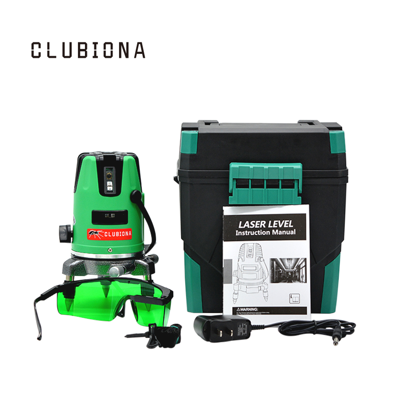 CLUBIONA Laser Level 3 Lines (2v, 1h) 3 points GREEN Line 360degree Self-leveling Cross Level Laser Vertical Horizontal Lasers a8827d 360 degree self leveling 3 lines 3 points rotary horizontal vertical red laser levels cross laser line laser highlights