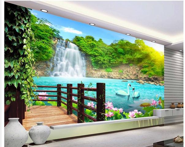 Waterfall wall stickers kamos sticker for 8 sheet giant wall mural